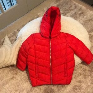 Red puffer toddler coat